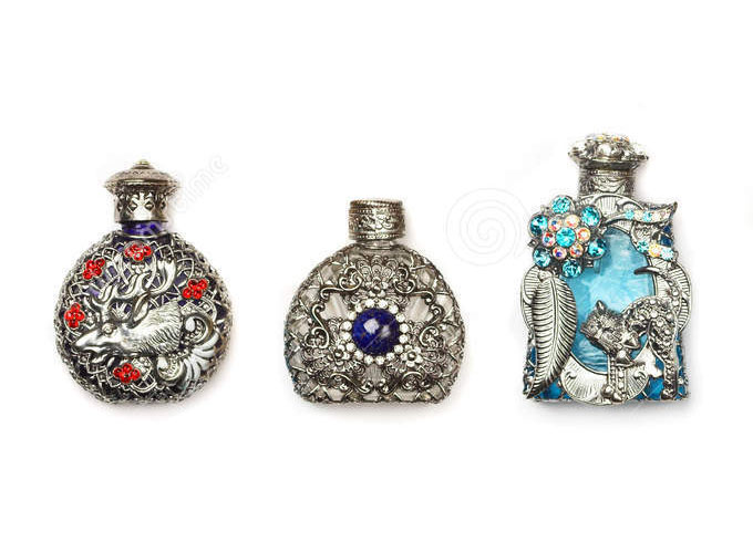 vintage-perfume-bottles-six-antique-glass-richly-ornated-isolated-white-32059504